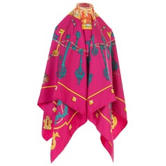 Stunning Hermes 140cm Silk Shawl 'Les Clefs' by Caty Latham