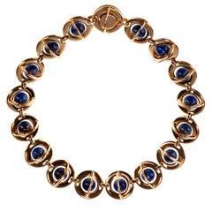 A Rare  Vintage Lazuli & Gold Metal Necklace by Burma of Paris
