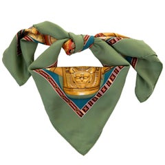 Pristine Hermes Silk Scarf 'Au son du Tam Tam' by Laurence Bourthoumieux