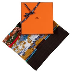 Pristine Hermes Silk & Cashmere Shawl 'Tropiques' by Laurence Bourthoumieu