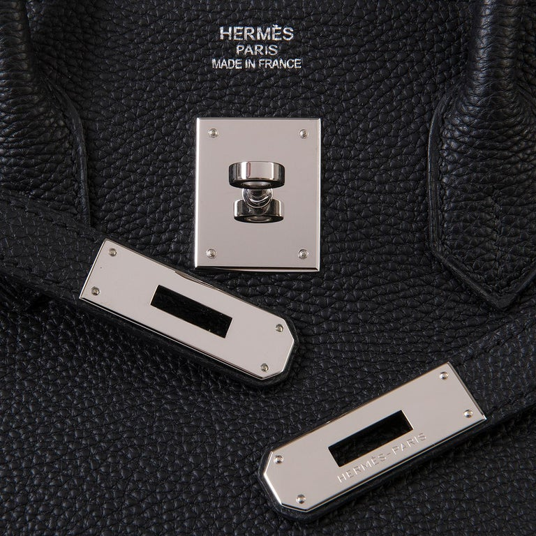 02bc208e600 Hermes 35cm Black Fjord Leather Silver Palladium Hardware Birkin Bag In  Excellent Condition For Sale In