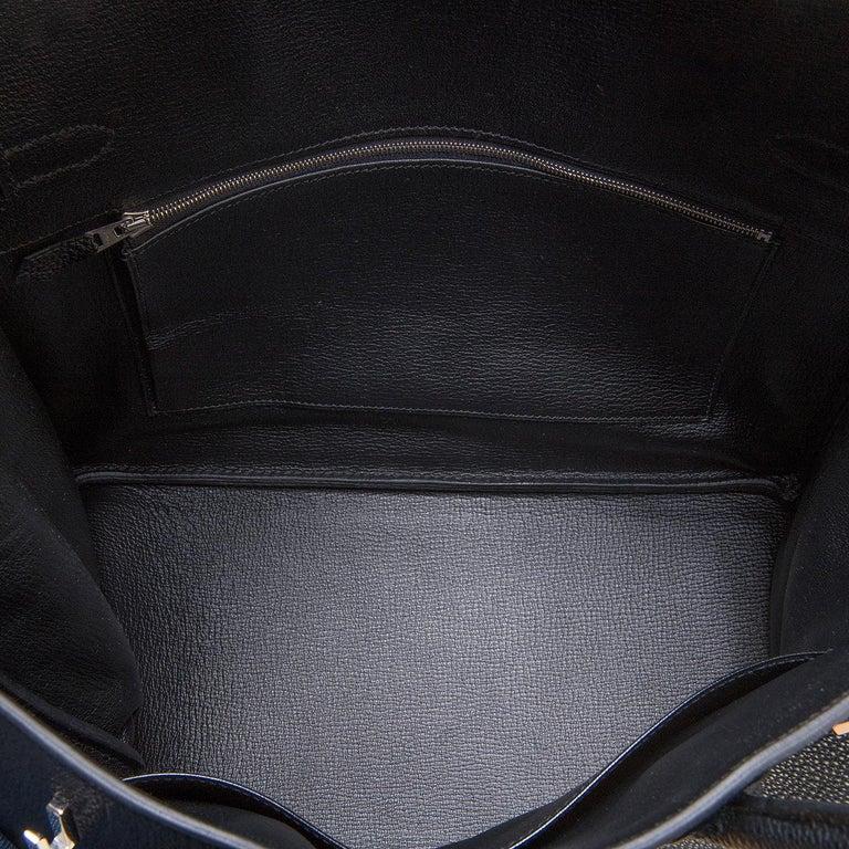 97360658c184 Hermes 35cm Black Fjord Leather Silver Palladium Hardware Birkin Bag For  Sale 4