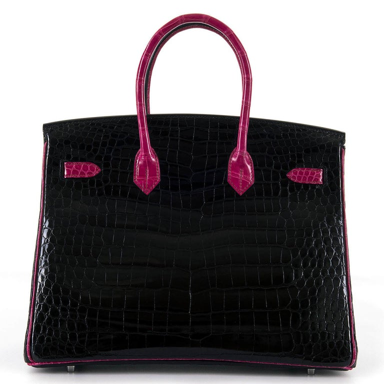 Hermes Limited Edition 35cm Shiny Black Crocodile Birkin Bag In Excellent Condition For Sale In London, GB