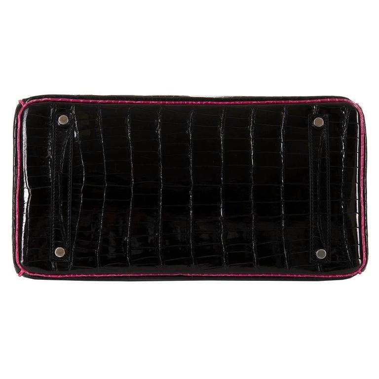 Hermes Limited Edition 35cm Shiny Black Crocodile Birkin Bag For Sale 1