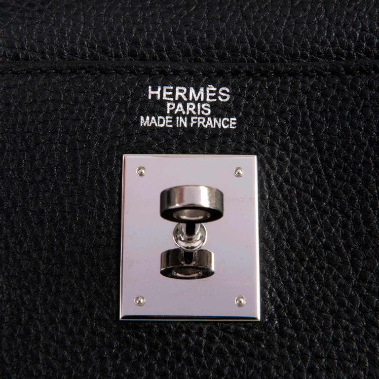 Rare Hermes 40cm Black on Black kelly 'Lakis' Bag with Palladium Hardware 1