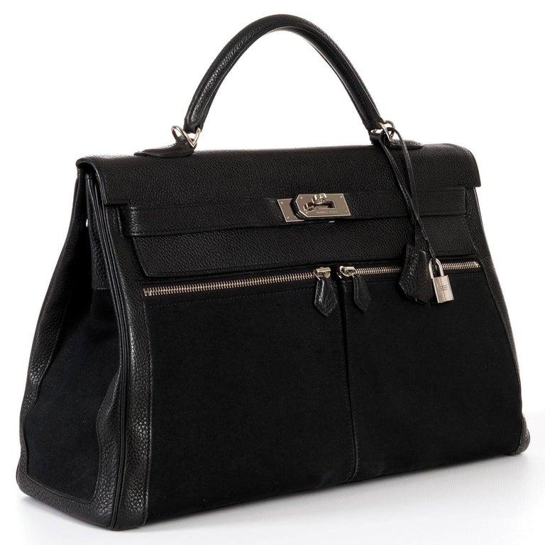 Rare Hermes 40cm Black on Black kelly 'Lakis' Bag with Palladium Hardware 2