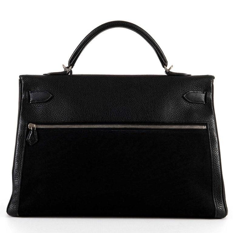 Rare Hermes 40cm Black on Black kelly 'Lakis' Bag with Palladium Hardware 3