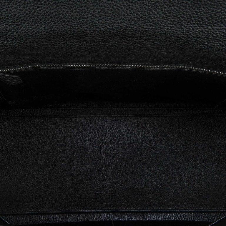 Rare Hermes 40cm Black on Black kelly 'Lakis' Bag with Palladium Hardware 5