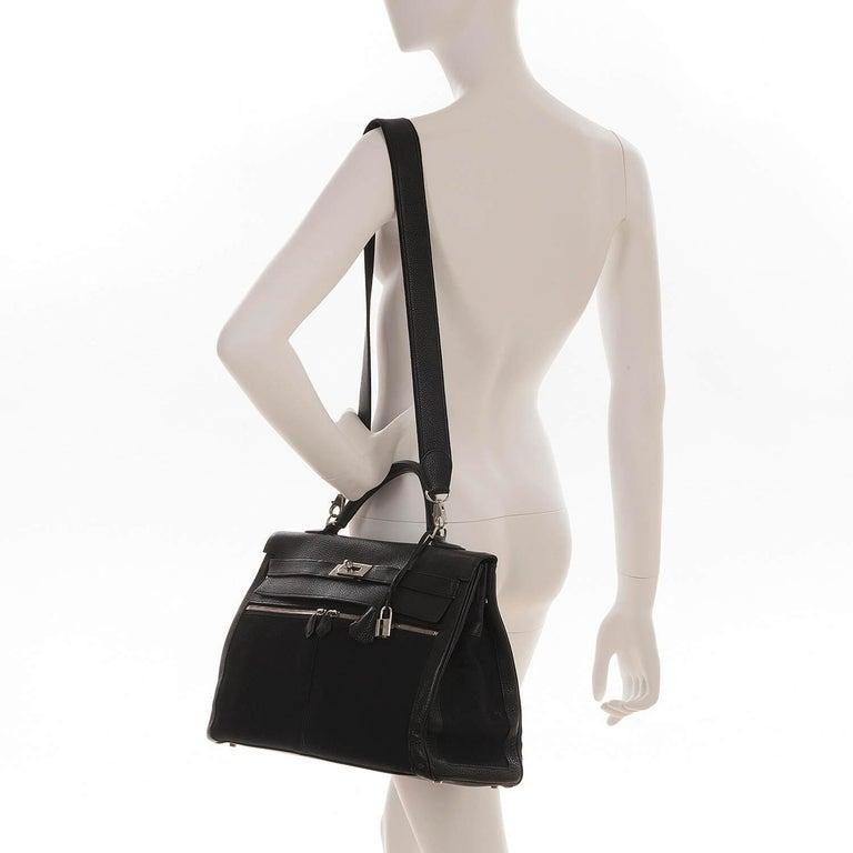 Rare Hermes 40cm Black on Black kelly 'Lakis' Bag with Palladium Hardware 6
