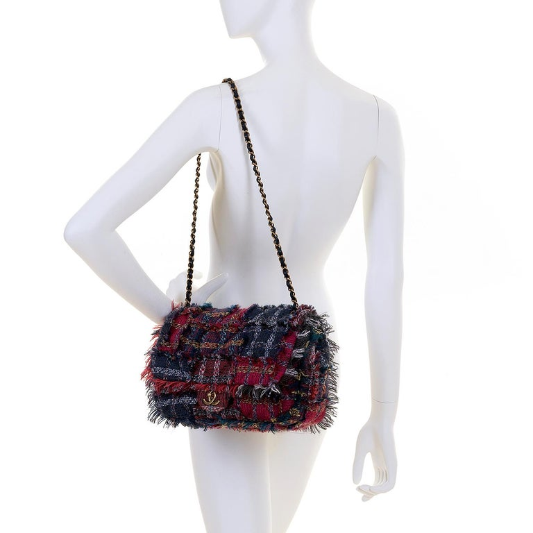 Women's Gorgeous Chanel 'Jumbo' Sac Timeless in Multi-coloured Wool Tweed For Sale