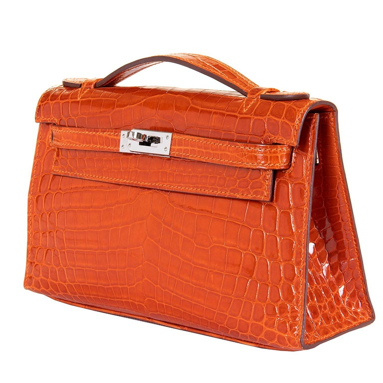 Hermes Mini Kelly Crocodile Clutch in Orange with Silver Palladium Hardware  8