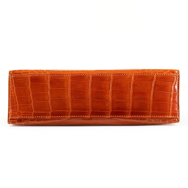 Hermes Mini Kelly Crocodile Clutch in Orange with Silver Palladium Hardware  2