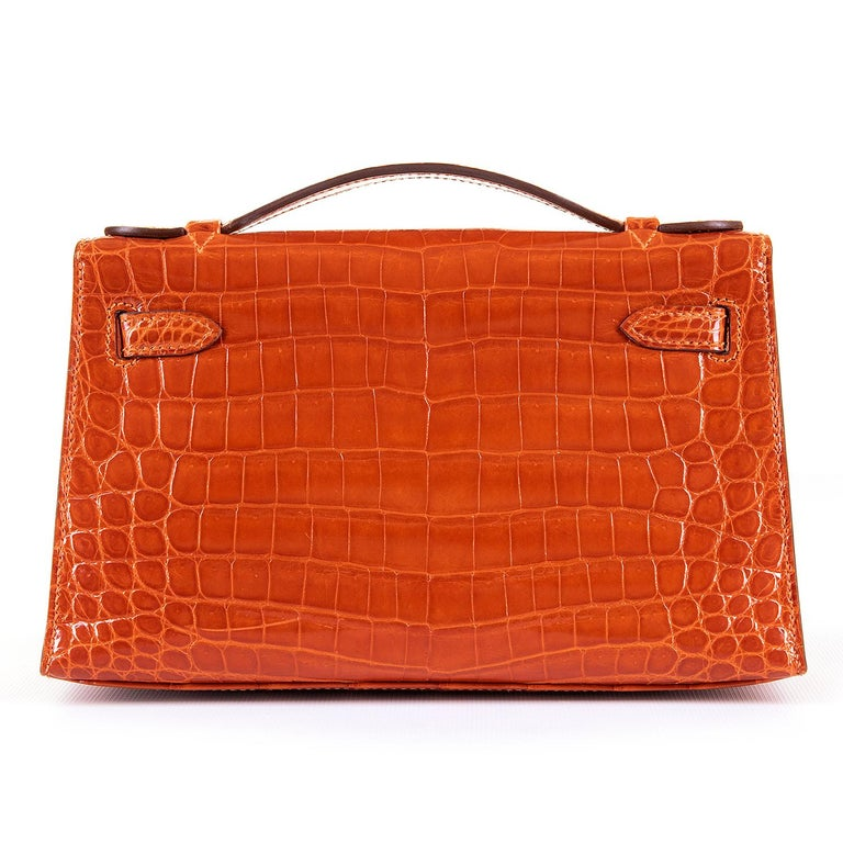 Hermes Mini Kelly Crocodile Clutch in Orange with Silver Palladium Hardware  3