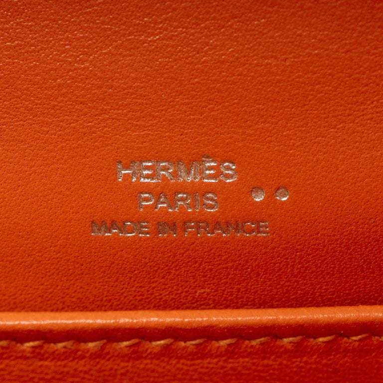 Hermes Mini Kelly Crocodile Clutch in Orange with Silver Palladium Hardware  5