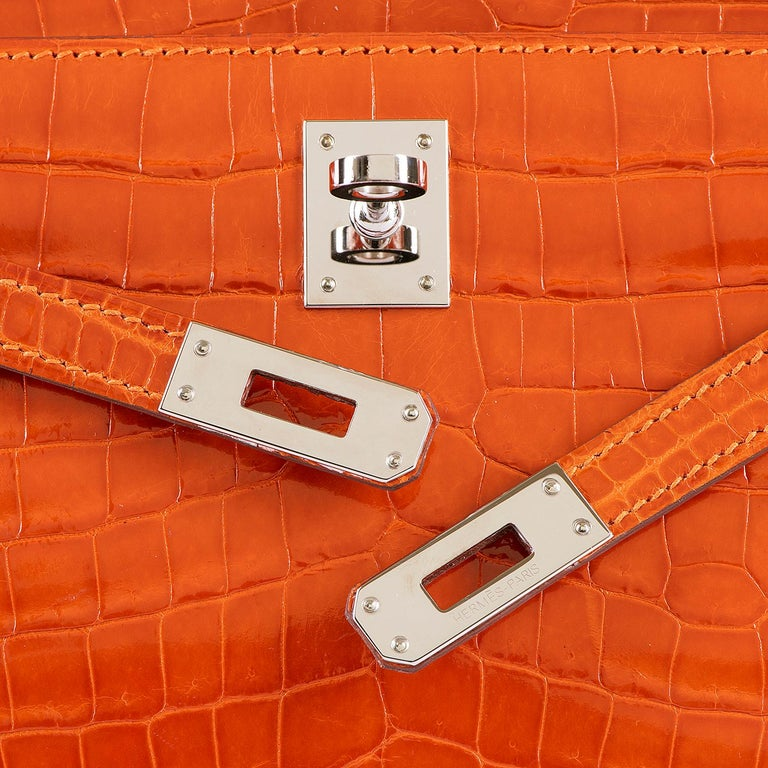 Hermes Mini Kelly Crocodile Clutch in Orange with Silver Palladium Hardware  6