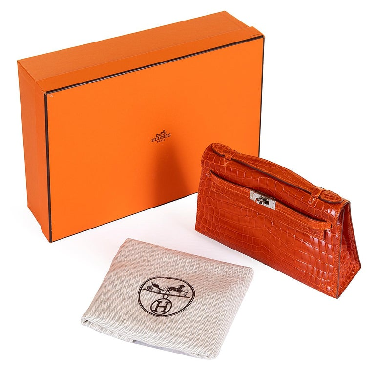 Hermes Mini Kelly Crocodile Clutch in Orange with Silver Palladium Hardware  10