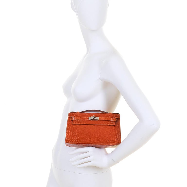Hermes Mini Kelly Crocodile Clutch in Orange with Silver Palladium Hardware  9