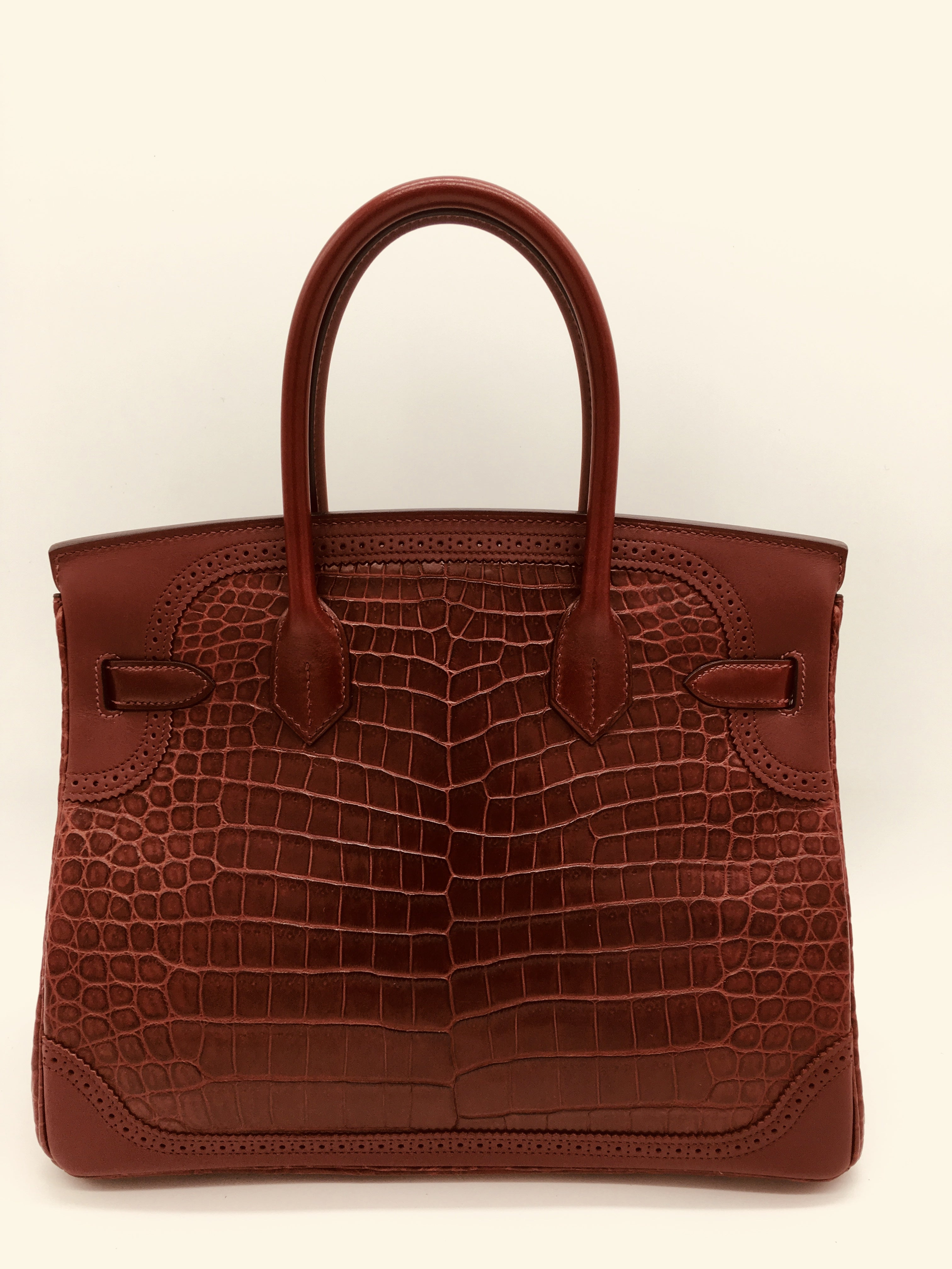 ca84079f48c3 Hermes Bourgogne   Rouge H matte crocodile and ghillies Birkin 30cm Bag at  1stdibs