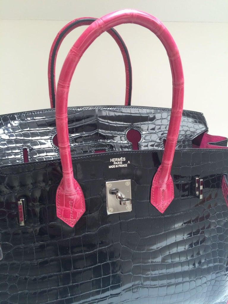 Women's Hermes Black and fuchsia shiny crocodile Birkin 35cm Bag For Sale