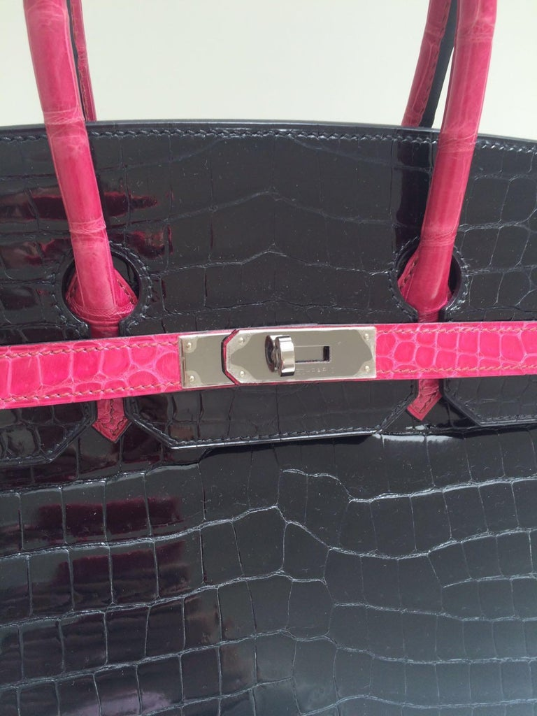 Hermes Black and fuchsia shiny crocodile Birkin 35cm Bag For Sale 1