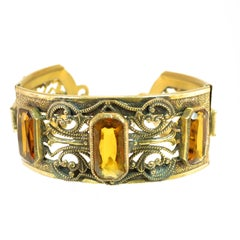 Victorian Gilded Amber Crystal Hinged Bracelet 1870s