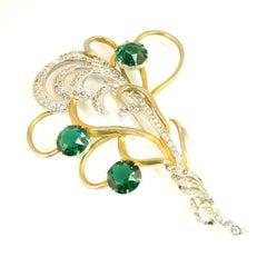 Mid-Century Silson Sterling Rhodium & Emerald Crystal Bouquet Brooch, 1940s
