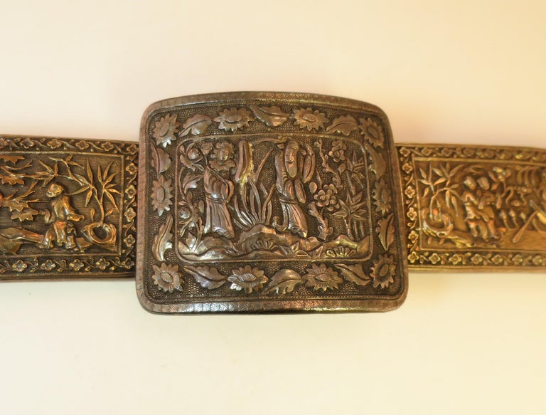 Brown Early 19th Century Asian Silver Belt, China 1830s For Sale