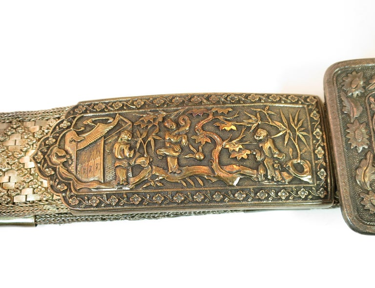 Early 19th Century Asian Silver Belt, China 1830s In Good Condition For Sale In Burbank, CA