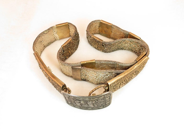 Early 19th Century Asian Silver Belt, China 1830s For Sale 9