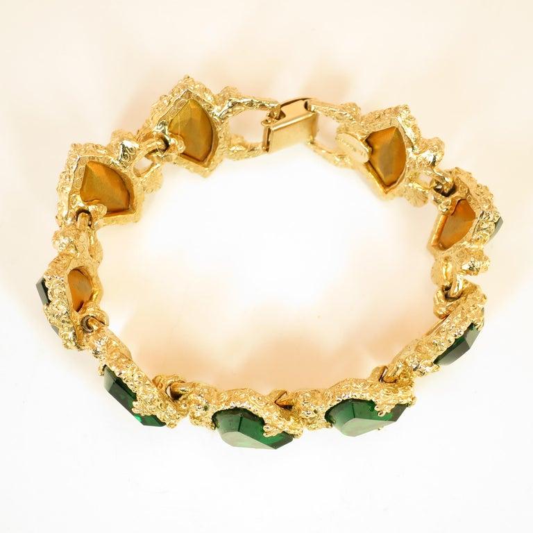 DeNicola Emerald Crystal Gold Nugget Link Bracelet 1960s ...