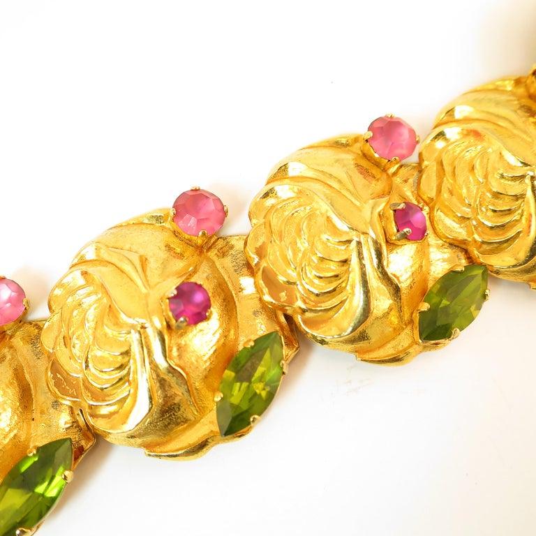 Dominique Aurientis Paris Gilded Floral Necklace Suite 1980s For Sale 2