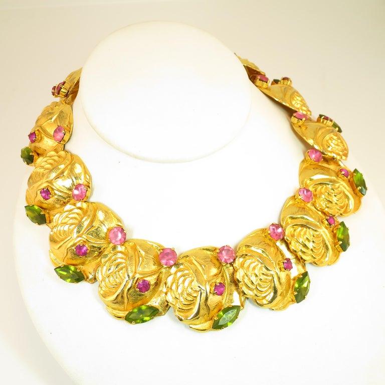 Dominique Aurientis Paris Gilded Floral Necklace Suite 1980s For Sale 3