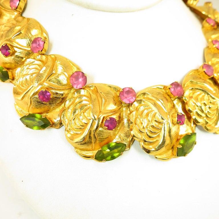 Dominique Aurientis Paris Gilded Floral Necklace Suite 1980s For Sale 4