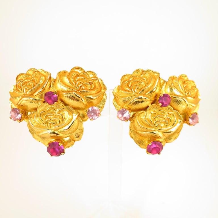 Dominique Aurientis Paris Gilded Floral Necklace Suite 1980s For Sale 8