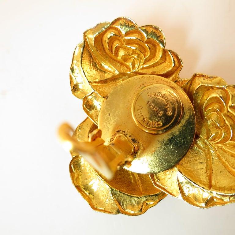 Dominique Aurientis Paris Gilded Floral Necklace Suite 1980s For Sale 11