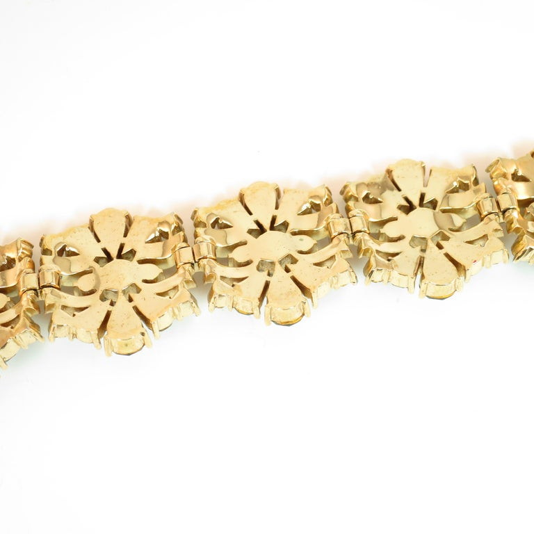 Crown Trifari Alfred Philippe Gilded Rhodium Bracelet Emerald Crystals 1950s  For Sale 7