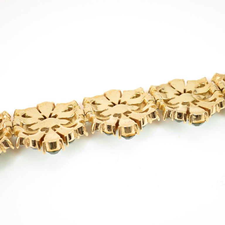 Crown Trifari Alfred Philippe Gilded Rhodium Bracelet Emerald Crystals 1950s  For Sale 8