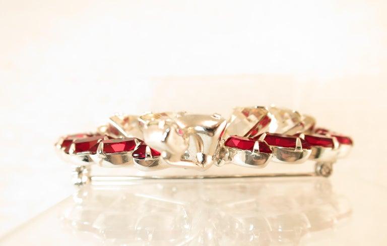 Vendome Ruby Crystal Leaf Brooch 1950s For Sale 5