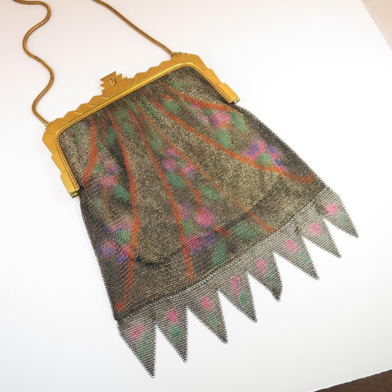Brown Whiting & Davis Deco Hand-Tinted Dresden Mesh Evening Purse 1920s For Sale