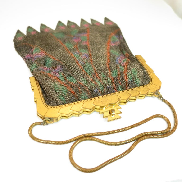 Whiting & Davis Deco Hand-Tinted Dresden Mesh Evening Purse 1920s In Good Condition For Sale In Burbank, CA