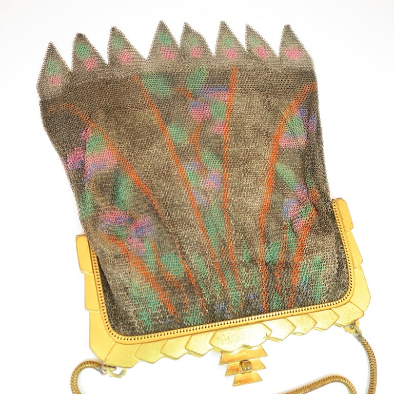 Women's Whiting & Davis Deco Hand-Tinted Dresden Mesh Evening Purse 1920s For Sale