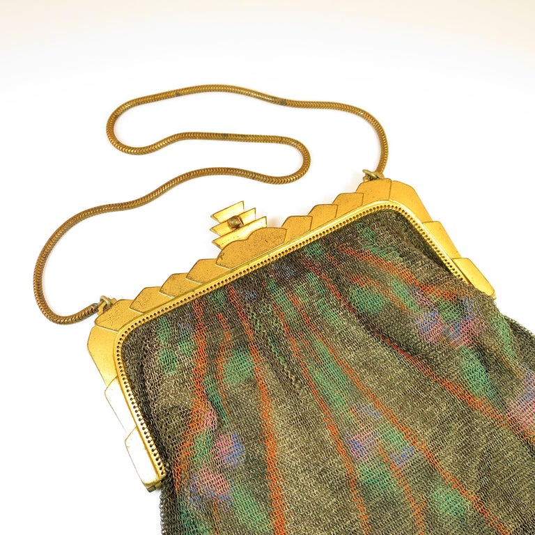 Whiting & Davis Deco Hand-Tinted Dresden Mesh Evening Purse 1920s For Sale 4