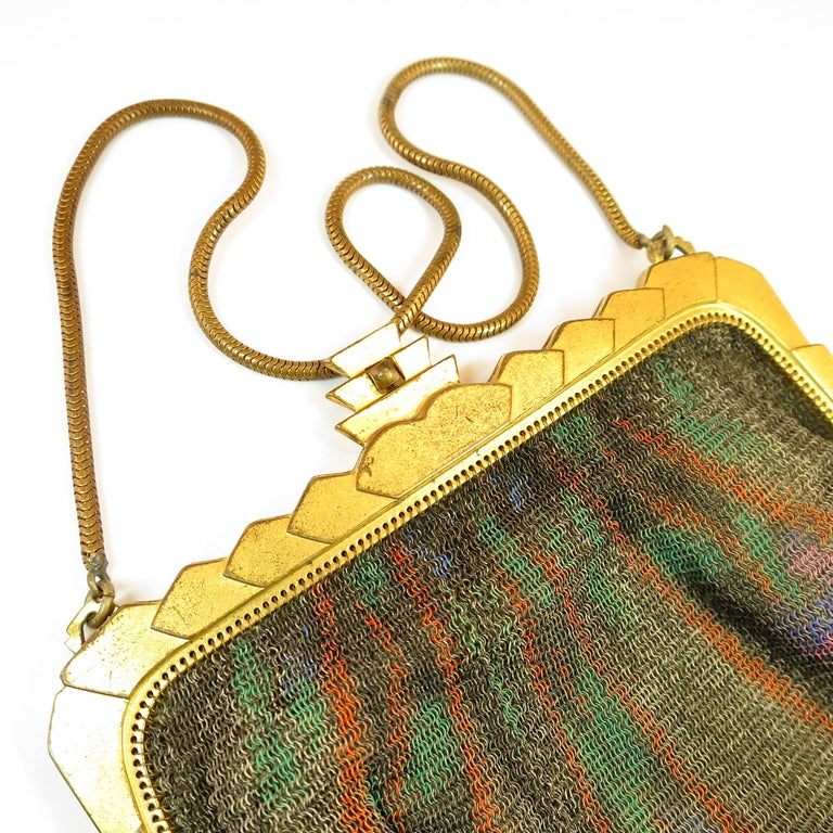 Whiting & Davis Deco Hand-Tinted Dresden Mesh Evening Purse 1920s For Sale 5