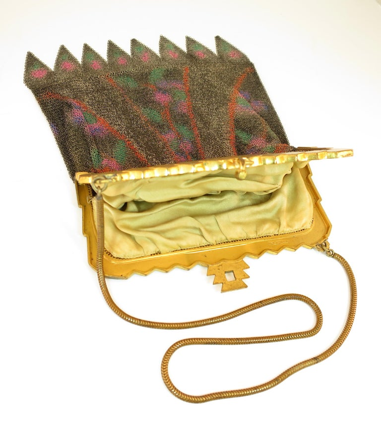 Whiting & Davis Deco Hand-Tinted Dresden Mesh Evening Purse 1920s For Sale 7