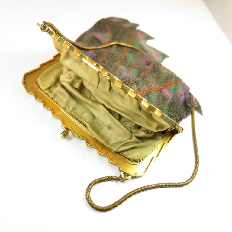 Whiting & Davis Deco Hand-Tinted Dresden Mesh Evening Purse 1920s For Sale 8