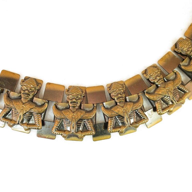 mid century modern asian warrior antiqued copper bracelet 1950s for