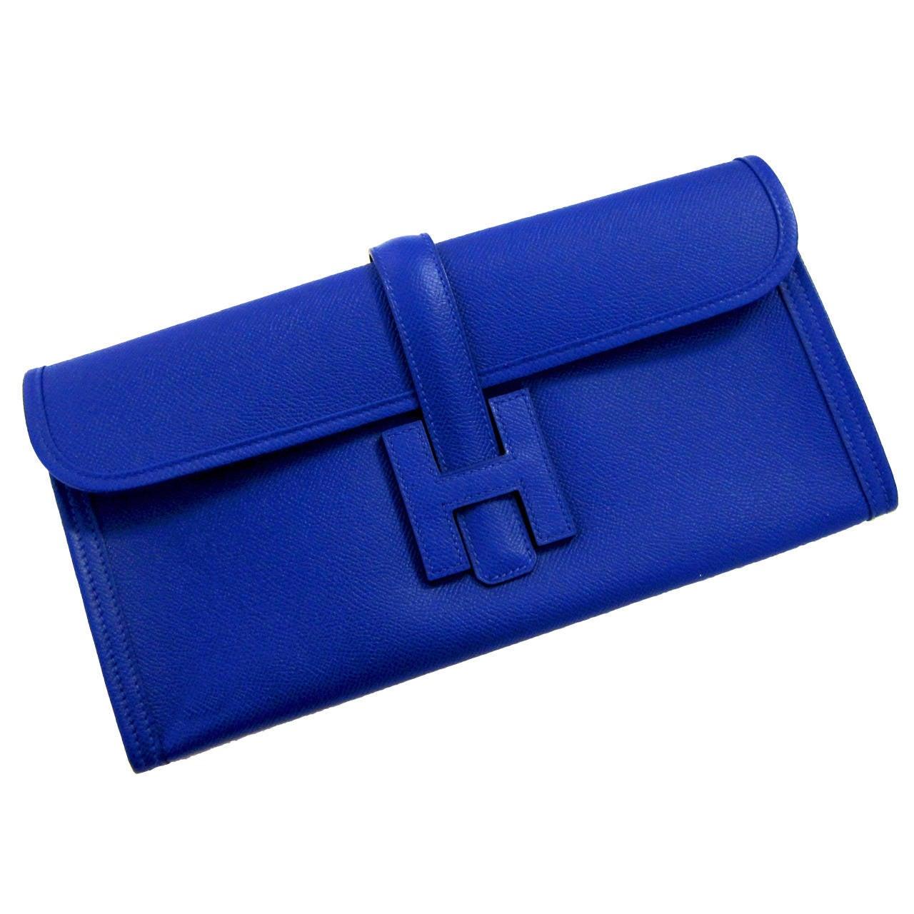 Hermes Blue Electric Jige Elan Clutch Electrifying At 1stdibs