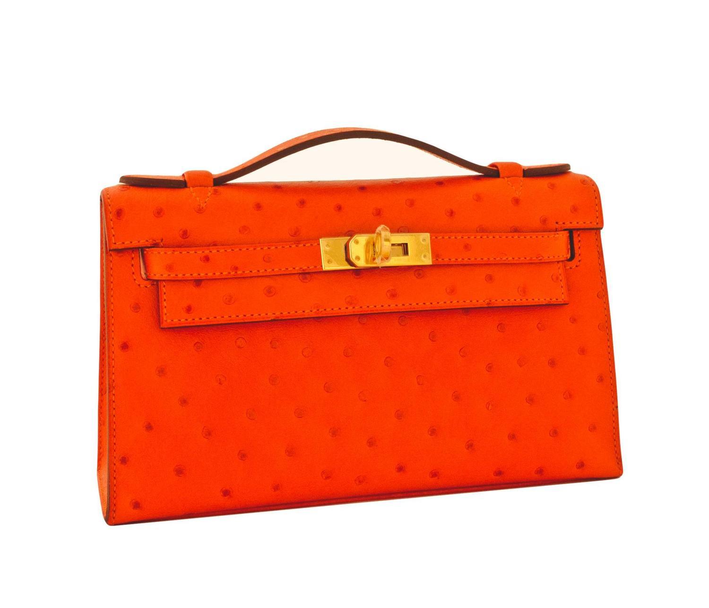 birkin luggage hermes - Hermes Tangerine Ostrich Mini Orange Kelly Pochette Gold Hardware ...