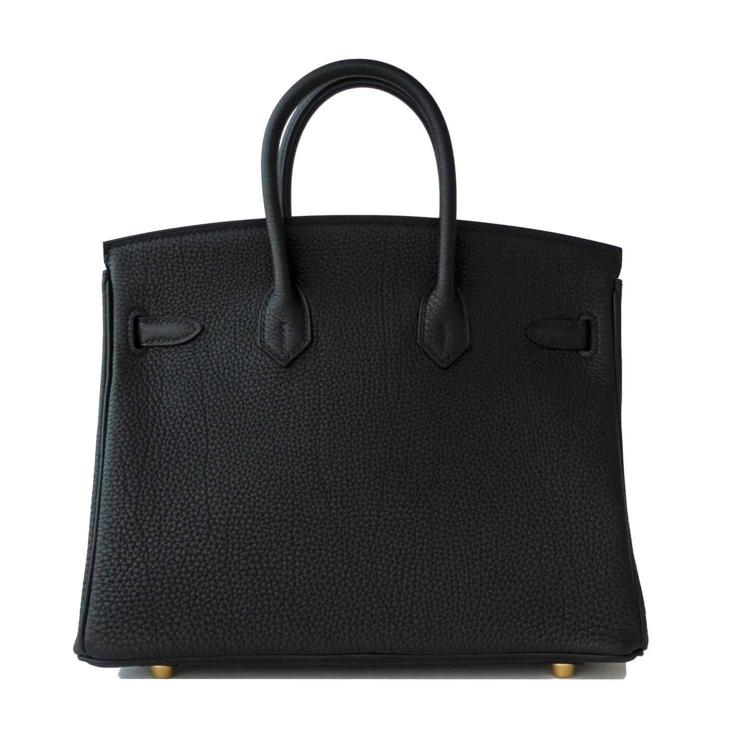 Hermes Black Baby Birkin 25cm Togo Gold GHW Satchel Jewel at 1stdibs