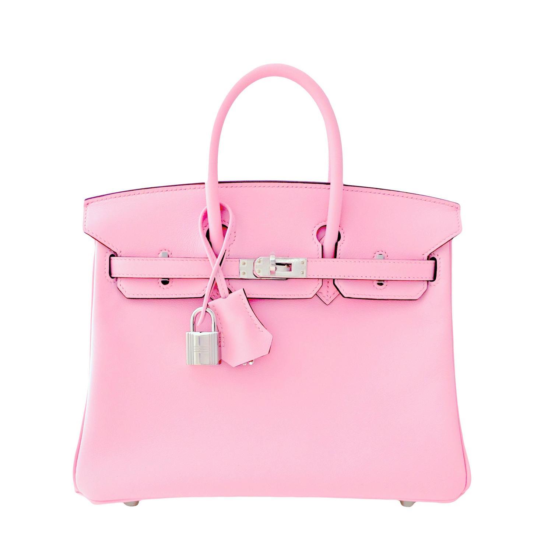 fake hermes - Hermes Rose Sakura Pink 25cm Swift Leather Birkin Satchel Bag ...